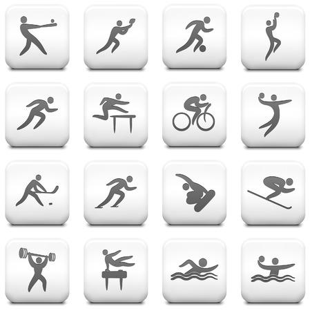 Athlete Icon on Square Black and White Button CollectionOriginal Illustration