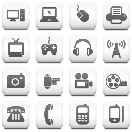phone: Technology Icon on Square Black and White Button Collection Original Illustration Illustration