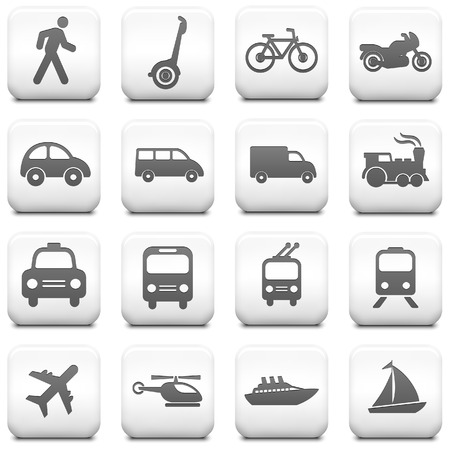 water transportation: Transportation Icon on Square Black and White Button Collection Original Illustration