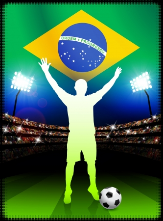 Brazil Soccer Player in Stadium Match