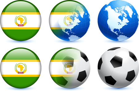 African Union Flag Button with Global Soccer Event Original Illustration Vector