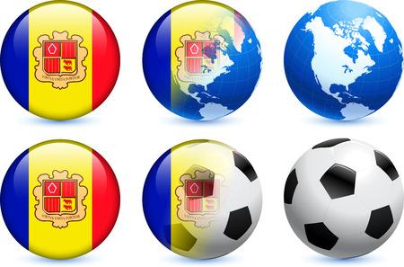 andorra: Andorra Flag Button with Global Soccer Event Original Illustration
