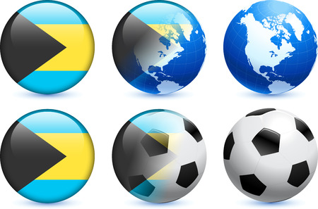 Bahamas Flag Button with Global Soccer Event Original Illustration