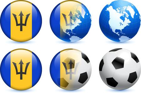 Barbados Flag Button with Global Soccer Event Original Illustration