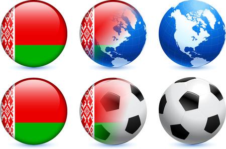 Belarus Flag Button with Global Soccer EventOriginal Illustration Ilustração