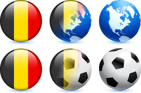 belgium: Belgium Flag Button with Global Soccer Event Original Illustration
