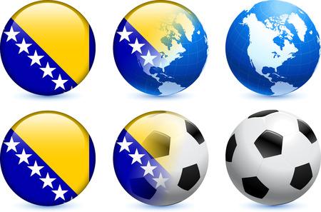 herzegovina: Bosnia and Herzegovina Flag Button with Global Soccer Event Original Illustration