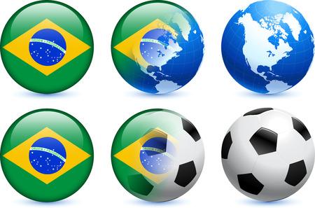 Brazil Flag Button with Global Soccer Event Original Illustration