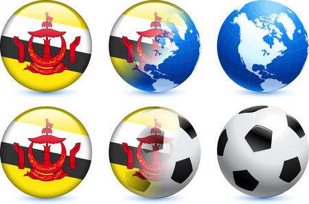 brunei darussalam: Brunei Darussalam Flag Button with Global Soccer Event Original Illustration Illustration