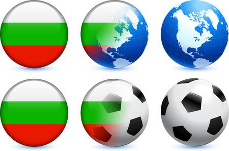 Bulgaria Flag Button with Global Soccer EventOriginal Illustration 向量圖像