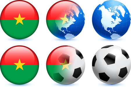 Burkina Faso Flag Button with Global Soccer Event Original Illustration Vector
