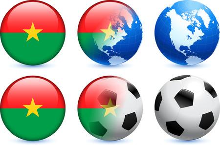 Burkina Faso Flag Button with Global Soccer Event Original Illustration Vector