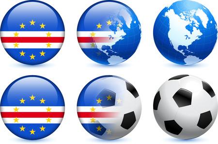 cape verde flag: Cape Verde Flag Button with Global Soccer Event Original Illustration Illustration
