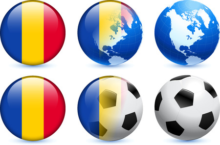 Chad Flag Button with Global Soccer Event Original Illustration
