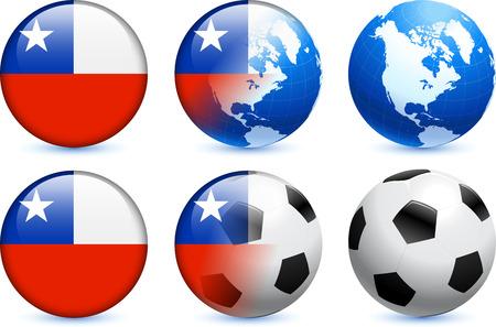 bandera de chile: Bot?n de bandera de Chile con el Mundial de f?tbol de eventos Ilustraci?n original  Vectores
