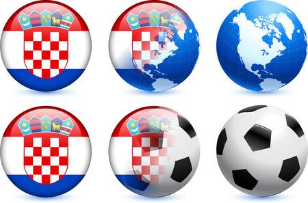 Croatia Flag Button with Global Soccer Event Original Illustration