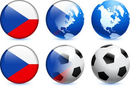 Czech Republic Flag Button with Global Soccer Event Original Illustration 向量圖像
