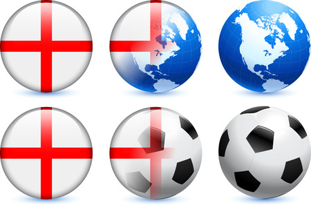 England Flag Button with Global Soccer Event