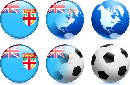 fiji: Fiji vlag knoop met Global Soccer Event Originele illustratie