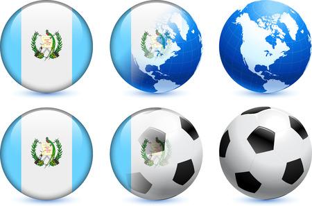 bandera de guatemala: Bot?n de bandera de Guatemala con el Mundial de f?tbol de eventos Ilustraci?n original  Vectores