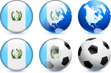 Guatemala Flag Button with Global Soccer Event Original Illustration