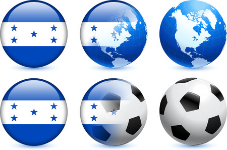 Honduras Flag Button with Global Soccer EventOriginal Illustration