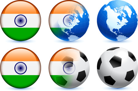 India Flag Button with Global Soccer Event Original Illustration Vector