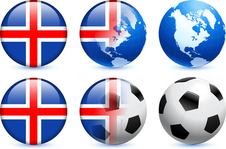 Iceland Flag Button with Global Soccer Event Original Illustration Vector