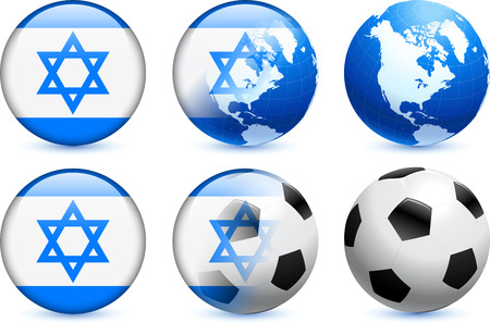 Israel Flag Button with Global Soccer Event Original Illustration Vector