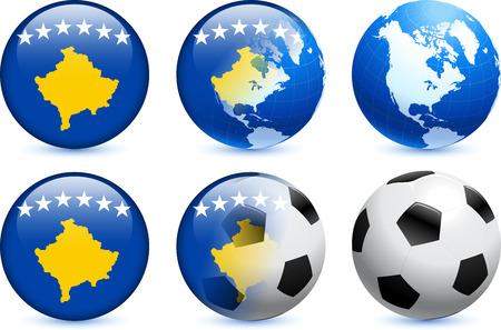 Kosovo Flag Button with Global Soccer EventOriginal Illustration Ilustração