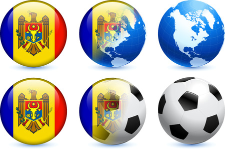 Moldova Flag Button with Global Soccer Event Original Illustration