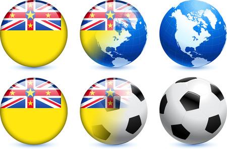 Niue Flag Button with Global Soccer Event Original Illustration