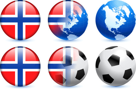 norway flag: Norway Flag Button with Global Soccer Event Original Illustration