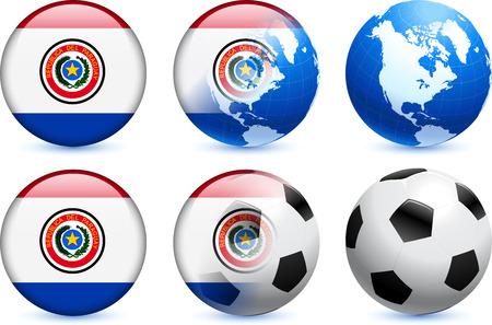 bandera de paraguay: Bot?n de bandera de Paraguay con el Mundial de f?tbol de eventos Ilustraci?n original