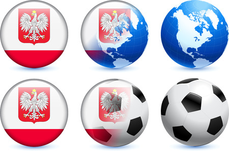 Poland Flag Button with Global Soccer EventOriginal Illustration Çizim