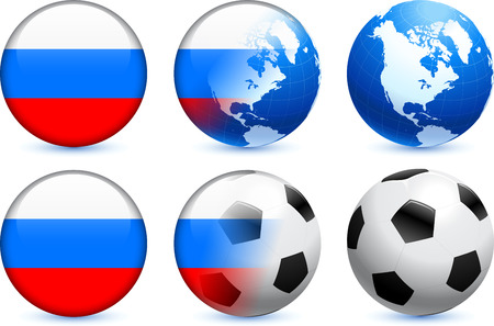 russian flag: Russia Flag Button with Global Soccer Event Original Illustration