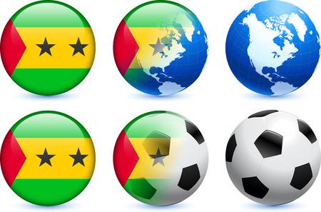 tomo: S�o Tom� Flag Button con Global Soccer Event Illustrazione originale