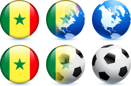 Senegal Flag Button with Global Soccer Event Original Illustration