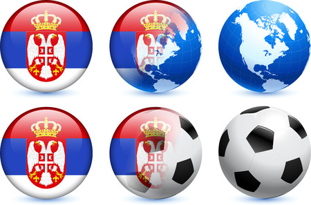 serbia: Serbia Flag Button with Global Soccer Event Original Illustration