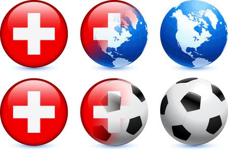 Switzerland Flag Button with Global Soccer Event Original Illustration Illustration