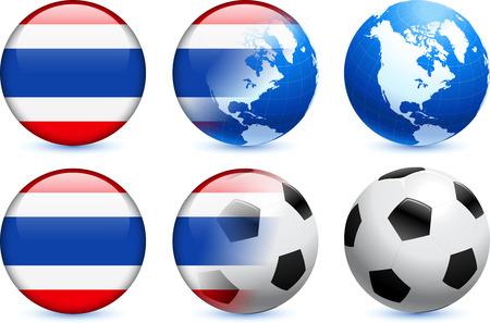 Thailand Flag Button with Global Soccer EventOriginal Illustration 일러스트