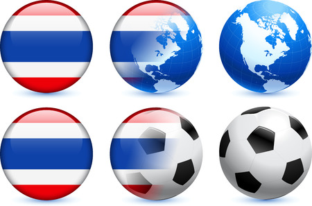 Thailand Flag Button with Global Soccer EventOriginal Illustration Vettoriali