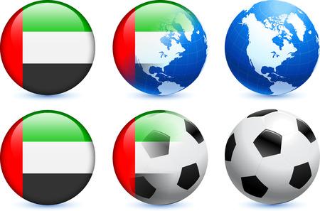 글로벌 축구 이벤트와 아랍 에미리트 플래그 단추 원래 그림