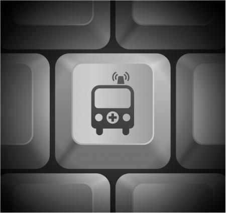 컴퓨터 키보드에 구급차 아이콘 원래 그림