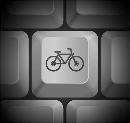 컴퓨터 키보드에 자전거 아이콘 원래 그림 일러스트