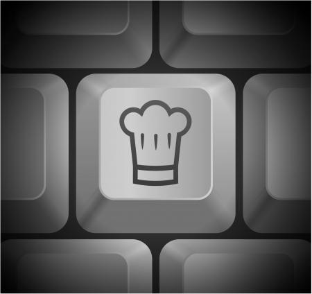 컴퓨터 키보드 원래 그림에 요리사 모자 아이콘