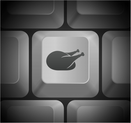 shortcut: Turkey Icon on Computer Keyboard Original Illustration