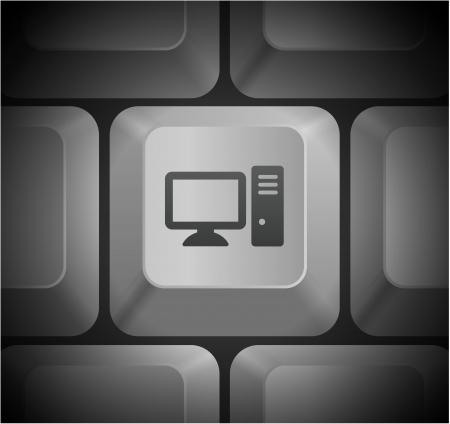 Computer Desktop Icon on Computer Keyboard Original Illustration