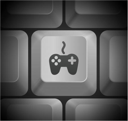 Game Controller Icon on Computer KeyboardOriginal Illustration