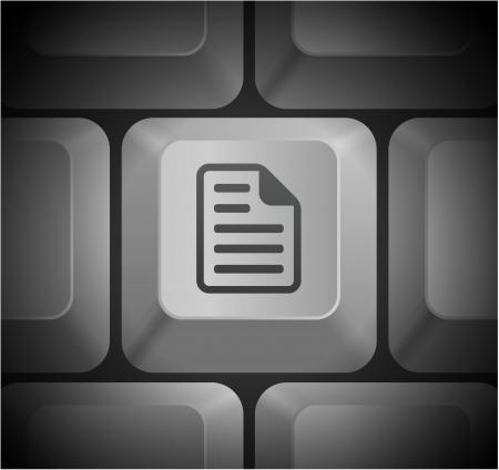 컴퓨터 키보드에 문서 아이콘 원래 그림 일러스트